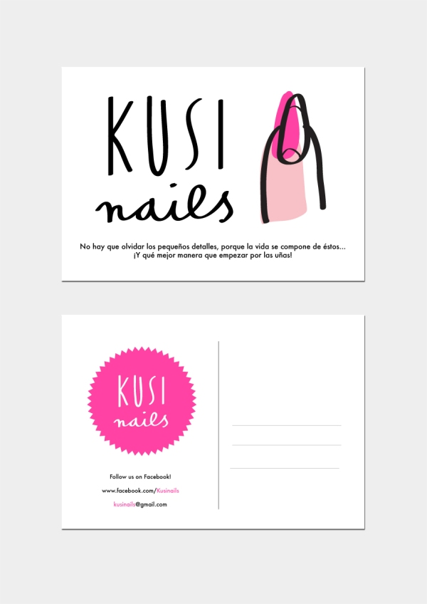 kusinails branding postal merchesico graphic design illustration