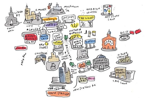 leeds handrawn map sketchbook mercedes leon merchesico