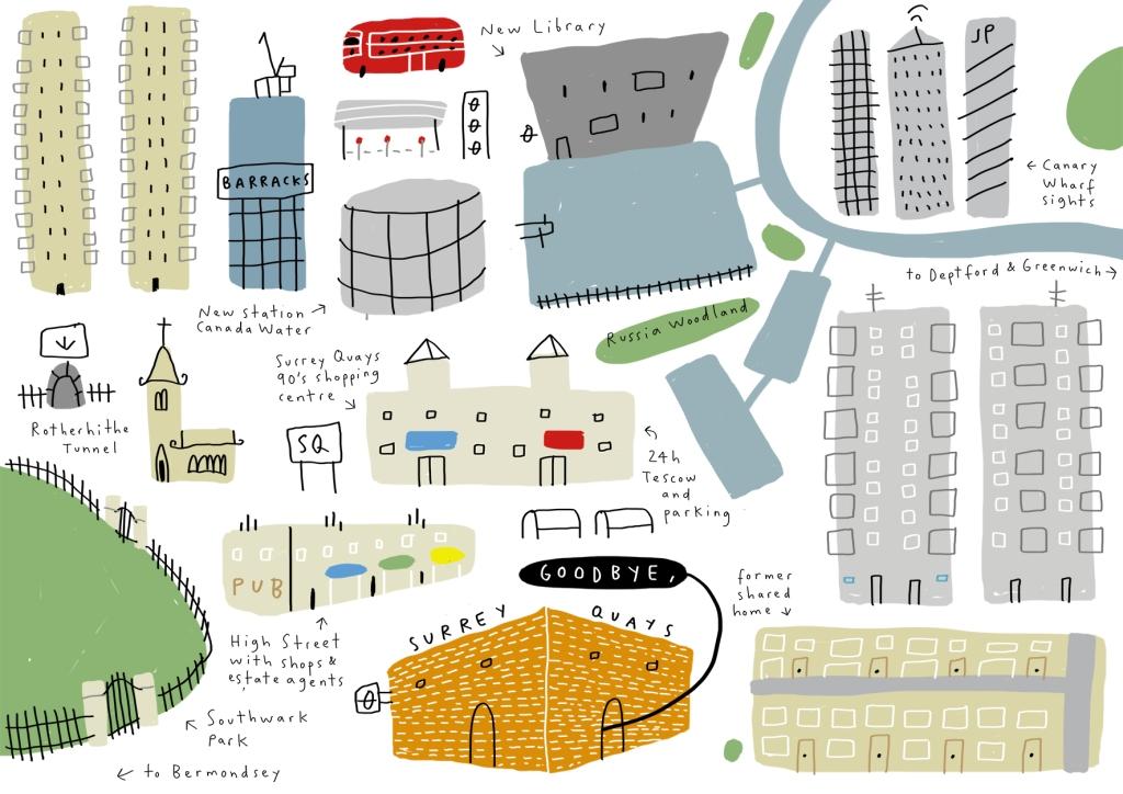 goodbye surrey quays merchesico london illustration