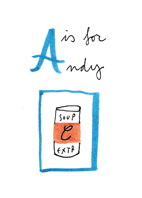 a is for andy warhol merchesico illustration