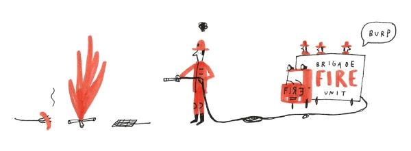 fire brigade barbecue mercedes leon illustration humour