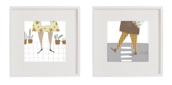 man and woman framed prints mercedes leon illustration