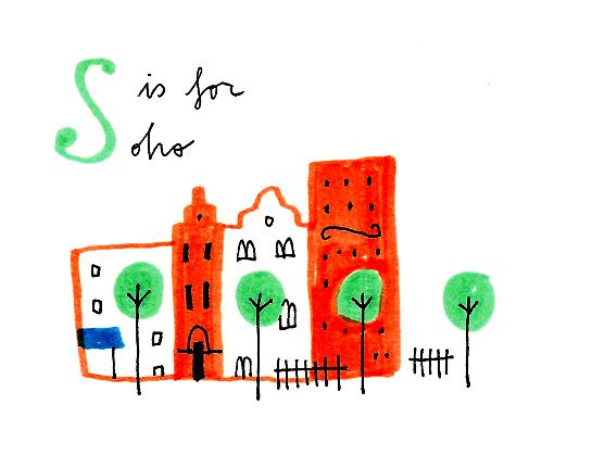 s is for soho mercedes leon illustration london