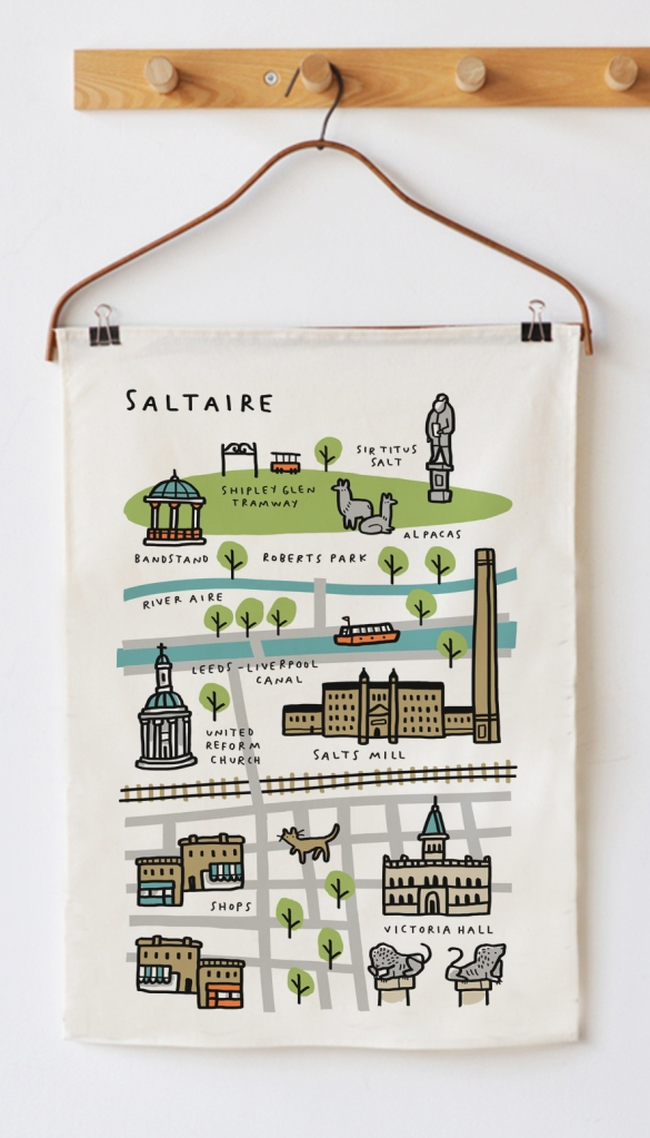 tea towel Saltaire Map mock up