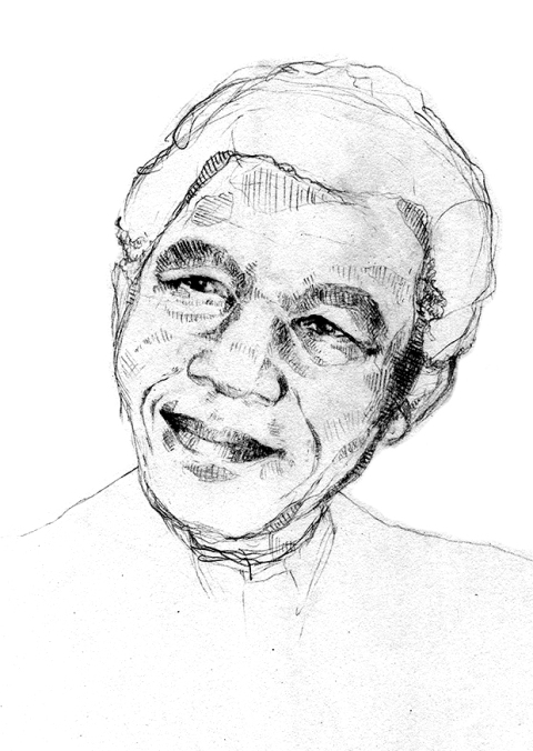nelson mandela pencil portrait mercedes leon illustration