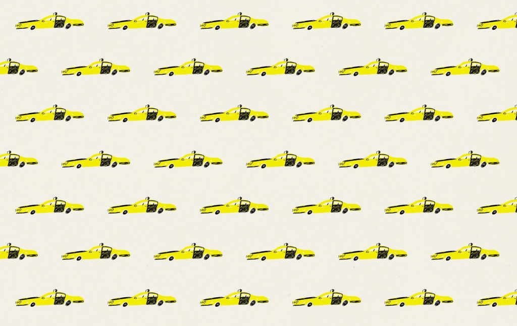 bcn taxi vintage wrap pattern mercedes leon illustration