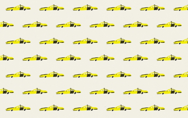bcn taxi vintage wrap pattern mercedes leon illustration