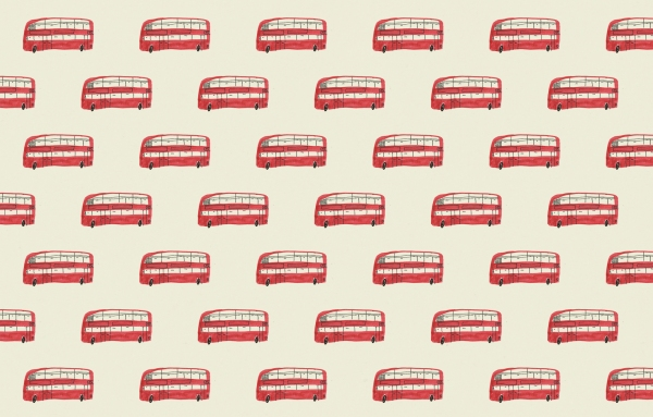 london bus vintage wallpaper pattern mercedes leon illustration