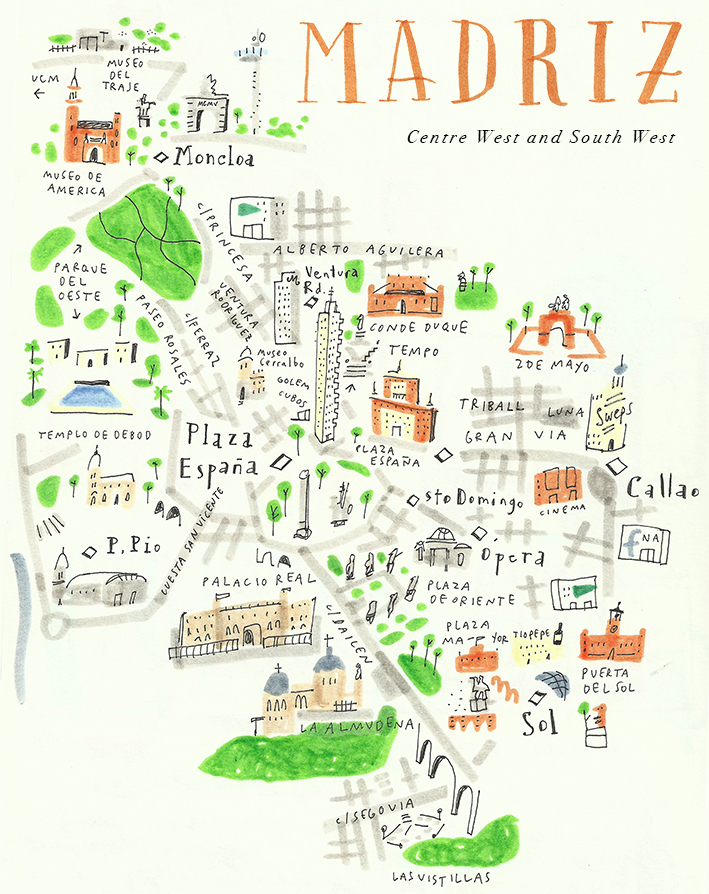 madrid madriz city markers sketchbook map mercedes leon illustration