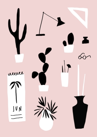 May pink collage mercedes leon illustration merchesico