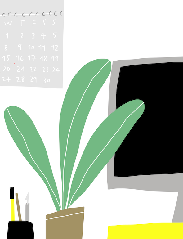 a postcard from the office merchesico mercedes leon illustration