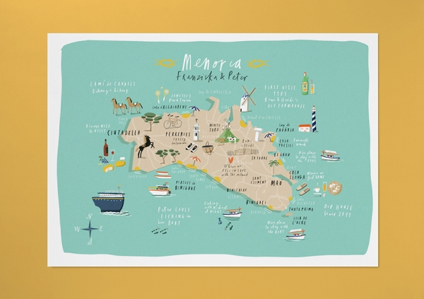 menorca map custom comission merchesico mercedes leon illustration
