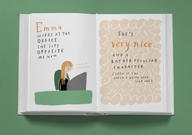 emma office book illustration spread mock up mercedes leon