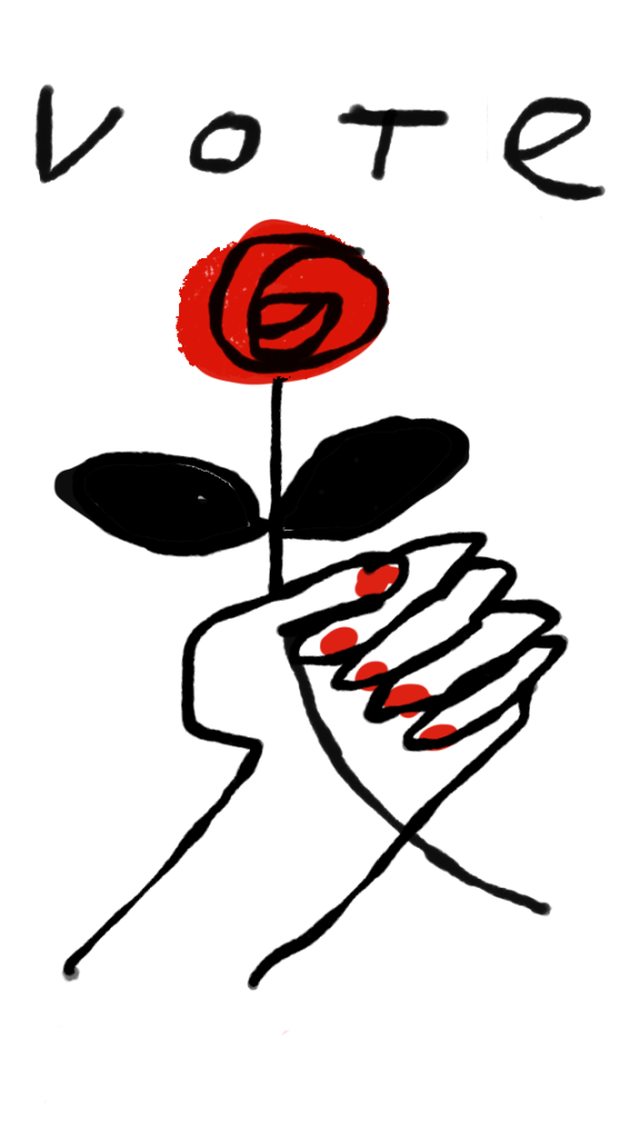 hand with red rose vote labour