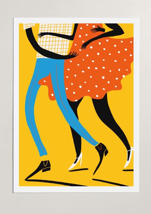 salsa dancers two tango mercedes leon merchesico illustration art print