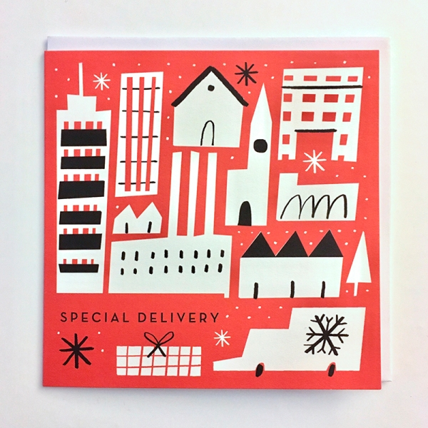 special delivery christmas city greeting card m&s mercedes leon illustration designer