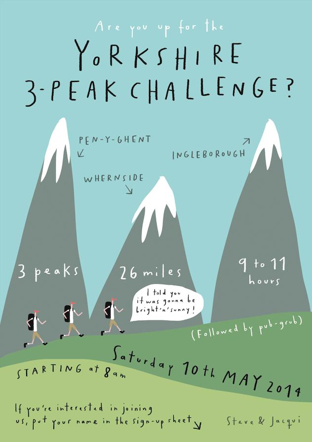 3 peak challenge poster charity mercedes leon tigerprint illustration lettering mountains yorkshire