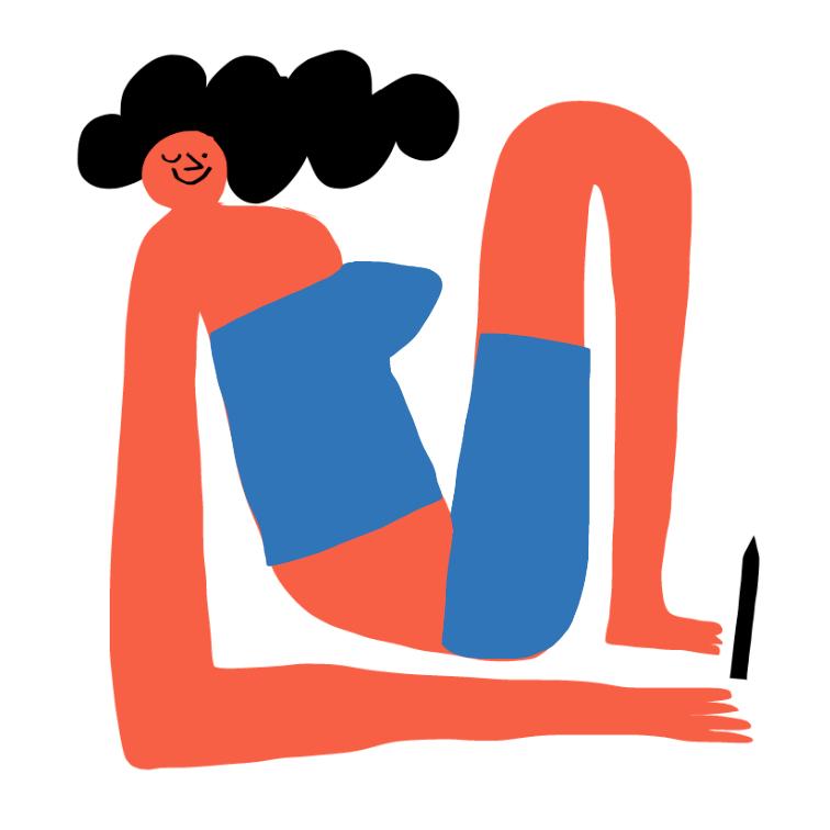 women who draw merchesico wink red body sat square art illustration