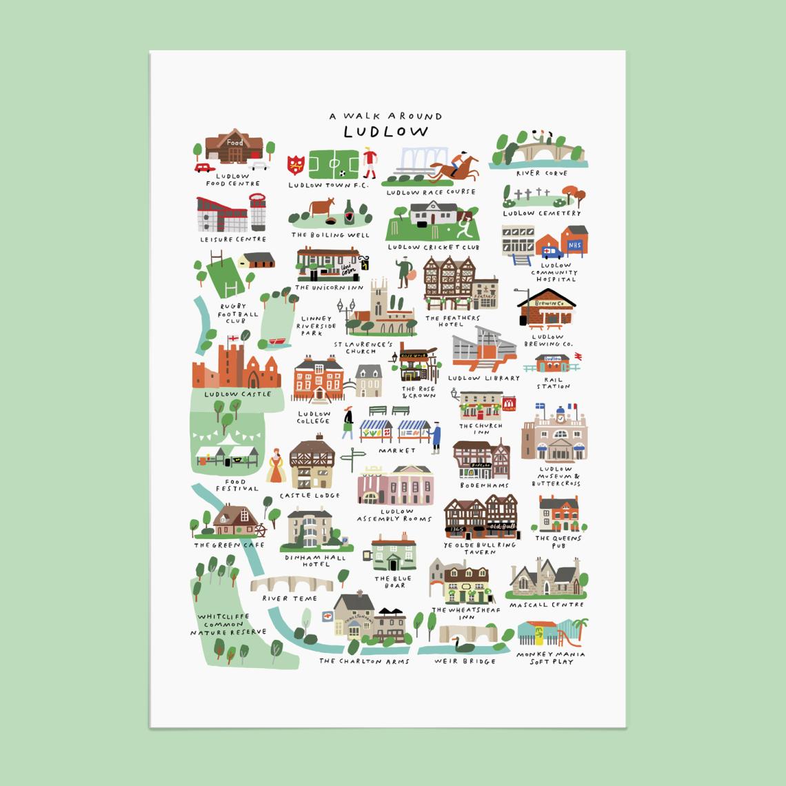 Walk Around Ludlow print PiP_mercedes leon merchesico illustration