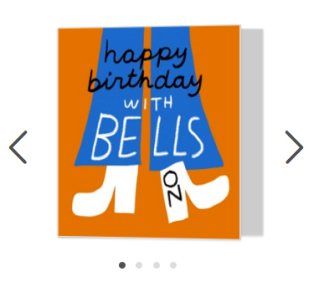 with bells on ha ha happy birthday card moonpig merchesico illustration
