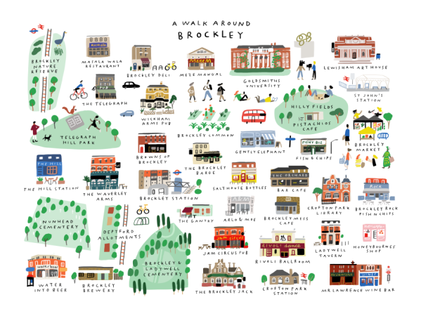 a walk around brockley merchesico mercedes leon illustration place in print