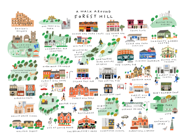 walk around forest hill mercedes leon illustration map landmarks people