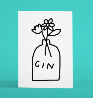 antisocial greetings humour merchesico illustration gin flowers