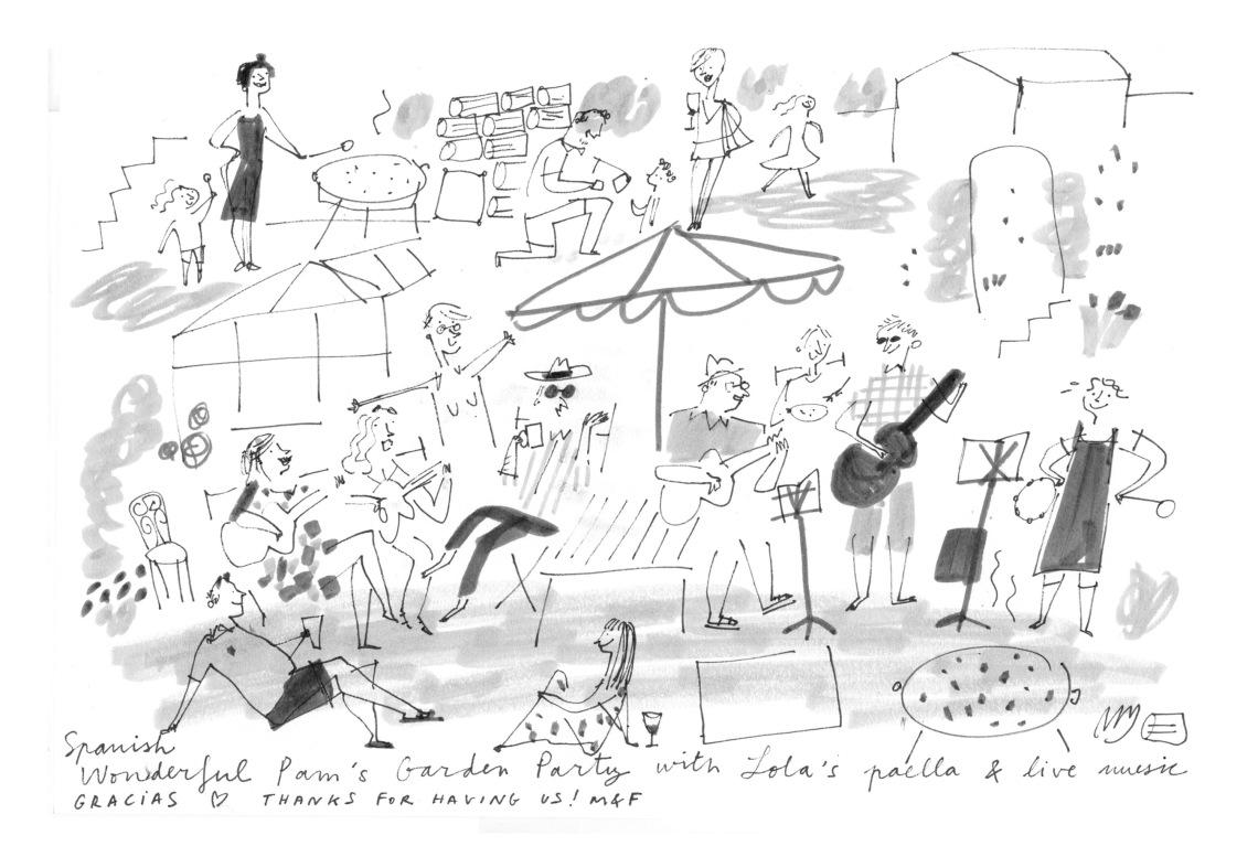 pam garden party paella drawing illustration live sketch mercedes leon merchesico