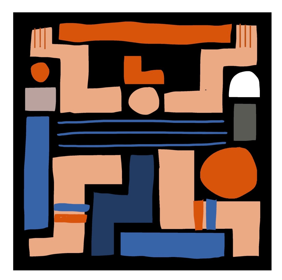 Square design digital illustration abstract geometric human figure juggling weight of the economy workers