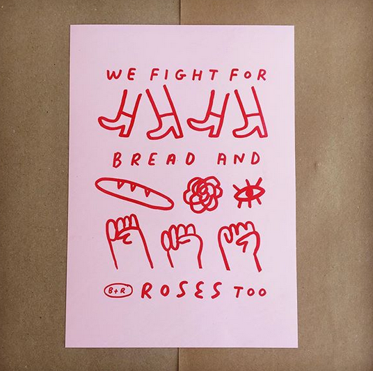 bread and roses a3 risograph print mercedes leon illustration cooperative crowdfunding campaign